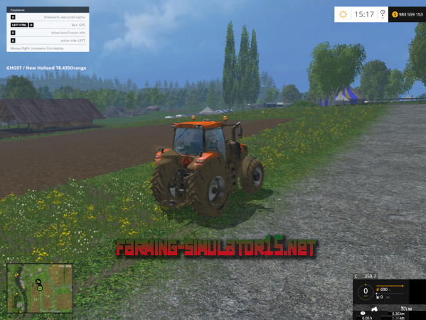 Мод Run Time Distance v5.15.1 - Моточасы и спидометр для Farming Simulator 2015