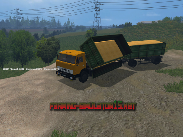 мод Самосвал KamAZ 45143 & Прицеп NEFAZ 8560 V 1.0 для Farming Simulator 2015