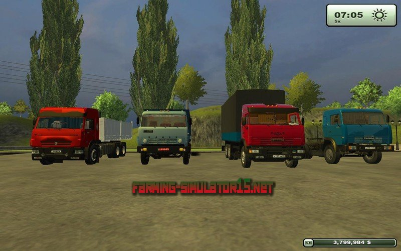 мод Kamaz 65117 Pack для Farming Simulator 2015